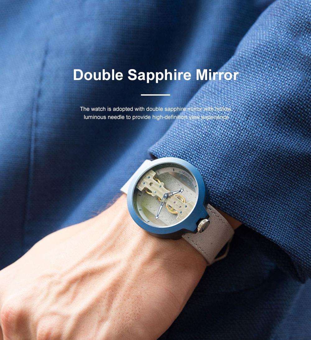 Lovers Mechanical Watch Waterproof Leisure Fashion Wristwatch for Men Women Couple Watch Gift Leather Luminous Needle Vertical Movement 2
