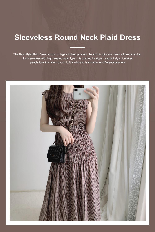 Female Vintage Dress Summer New Sleeveless Round Neck Plaid Women Elegant Thin Pleated Waist Casual Dress 0