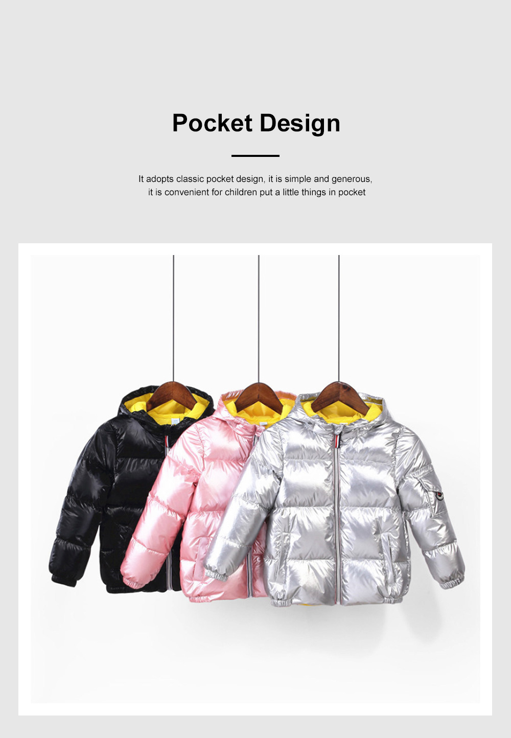 Glossy Silver Children's Down Coat Thickened Cotton Men & Women Children's Clothing Baby Down Cotton Space Bread Clothing 2019 4