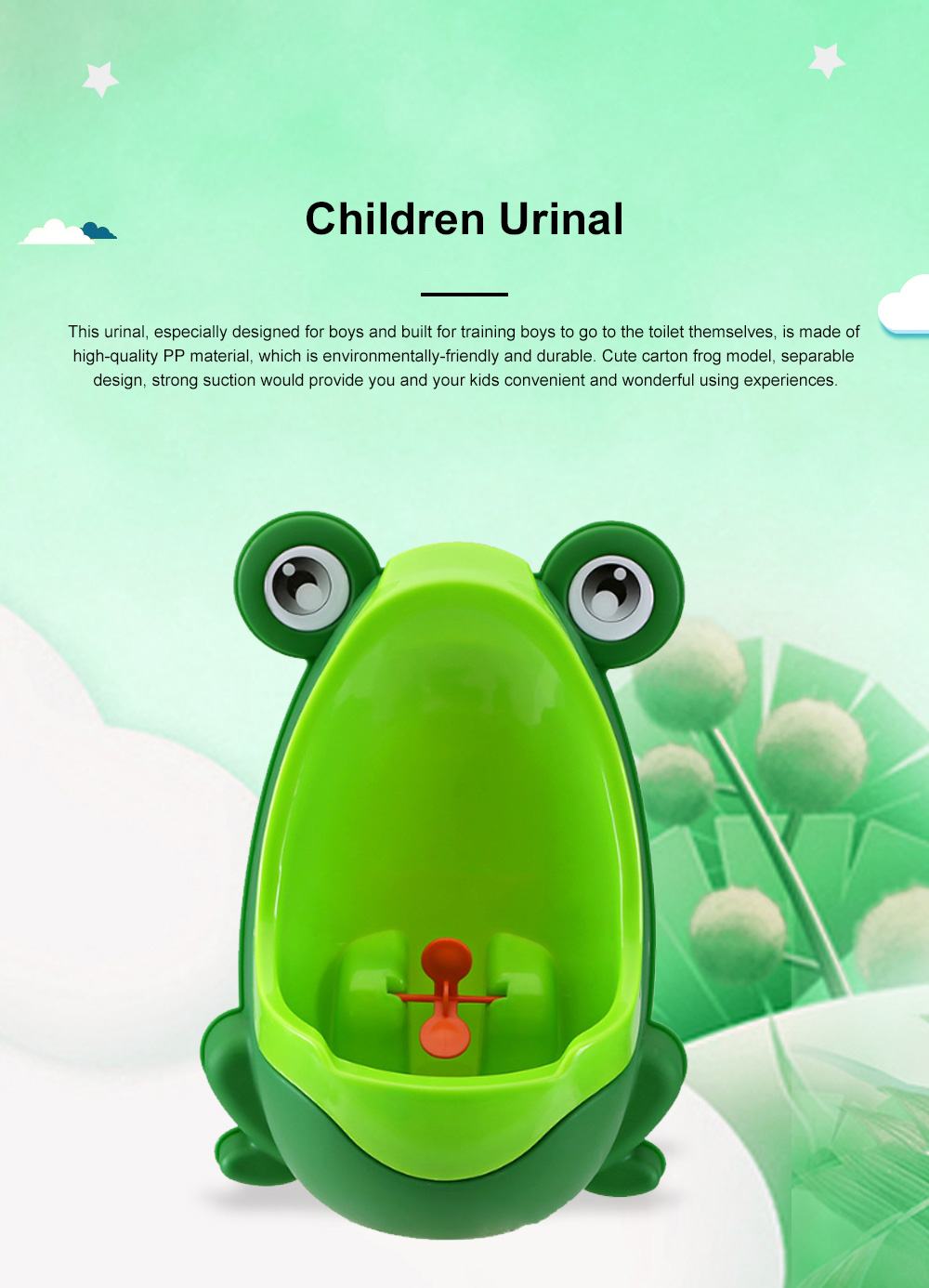 Cute Frog Model Wall Hanging Children Standing Urinal Separable Strong Suction Toilet Training for Boys 0