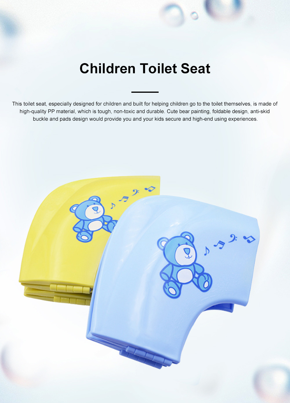 Portable Foldable Outdoors Traveling Children Safety Toilet Seat with Anti-skid Pads Buckles Kids Toilet Cushion 0