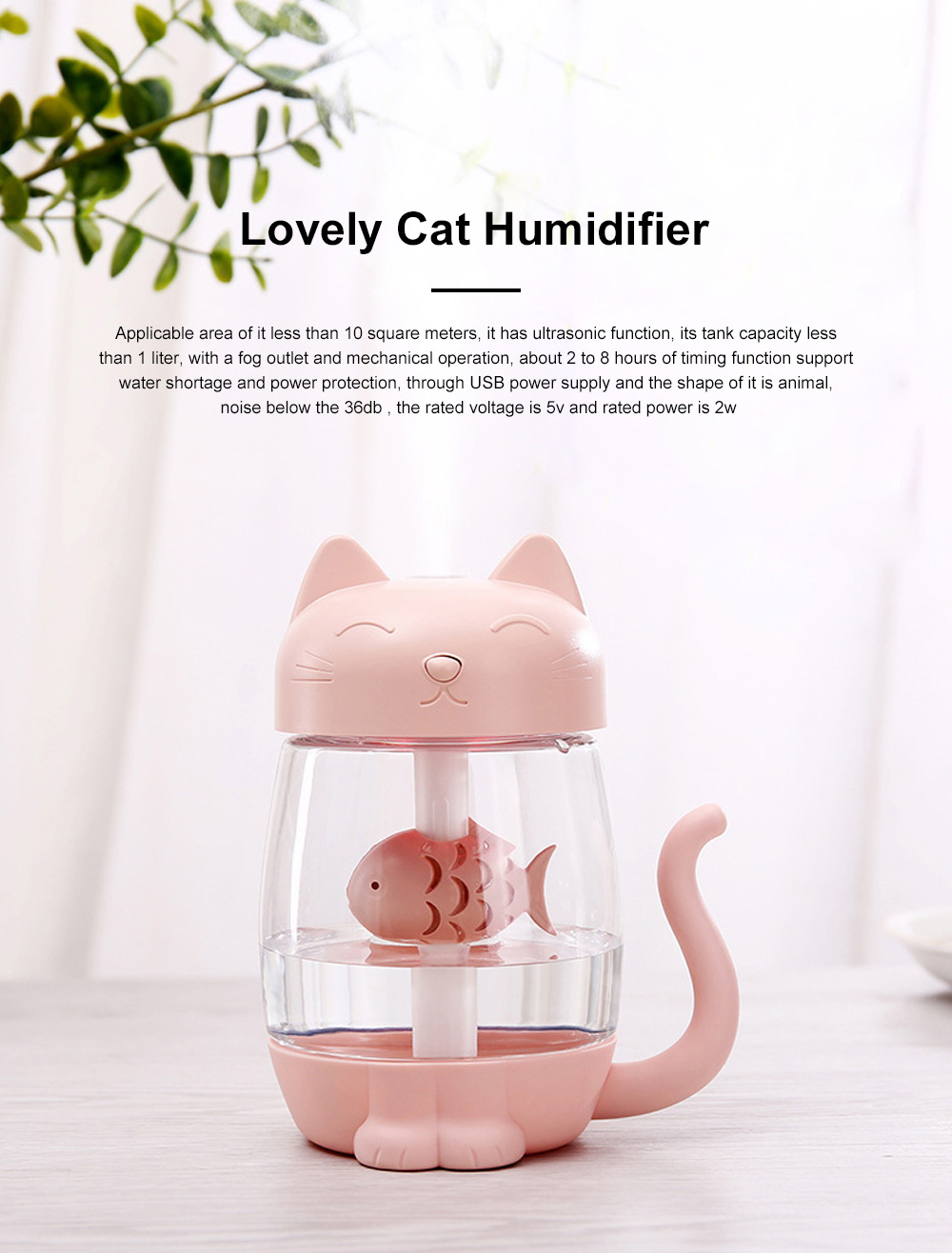 Lovely Cat Humidifier Portable Charging Creative Office Humidifier Three In One Usb Fan Desktop Atomizer Led Light Dry Protection 0