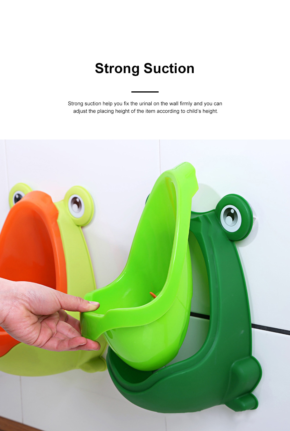 Cute Frog Model Wall Hanging Children Standing Urinal Separable Strong Suction Toilet Training for Boys 4