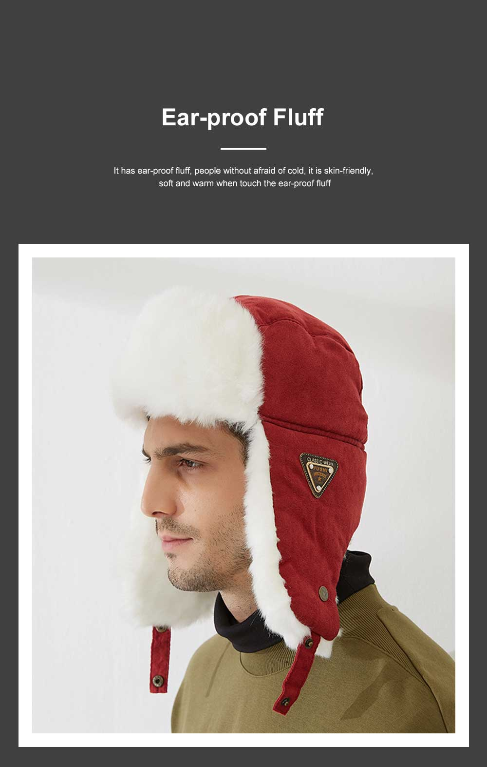 Winter Snow Hat Old Men Thickening Plus Velvet Warm Cap Plush Animal Cap Russian Style Faux Fur Hat With Ear Flaps Ski Earmuffs 2