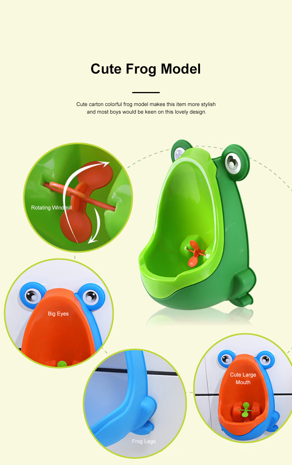 Cute Frog Model Wall Hanging Children Standing Urinal Separable Strong Suction Toilet Training for Boys 1