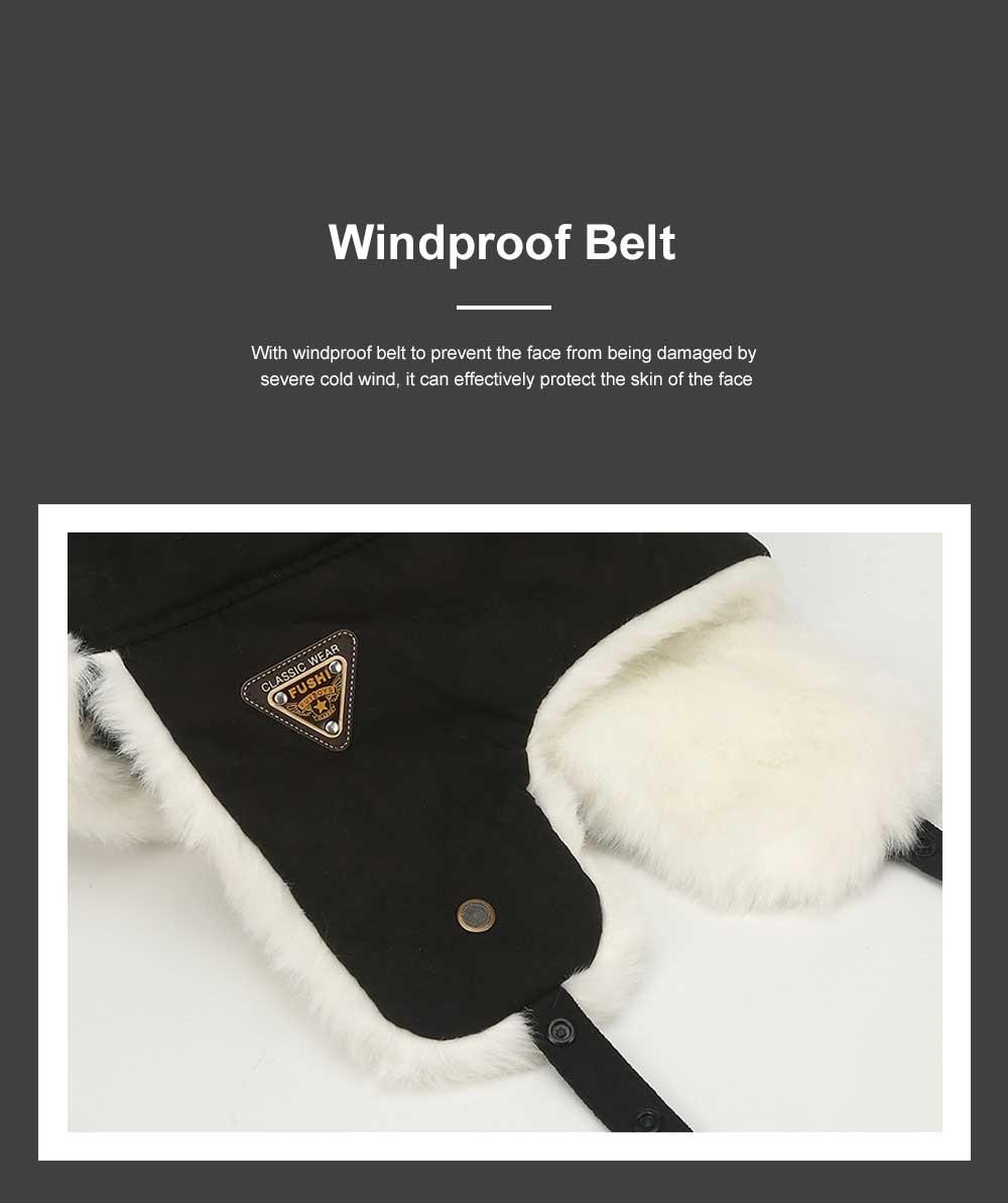 Winter Snow Hat Old Men Thickening Plus Velvet Warm Cap Plush Animal Cap Russian Style Faux Fur Hat With Ear Flaps Ski Earmuffs 4