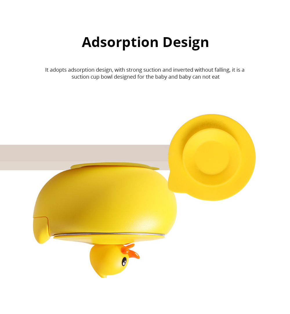 Small Yellow Duck Water Injection Bowl Children Tableware Baby Eating Bowl Stainless Steel Baby Spoon Set Complementary Food 1