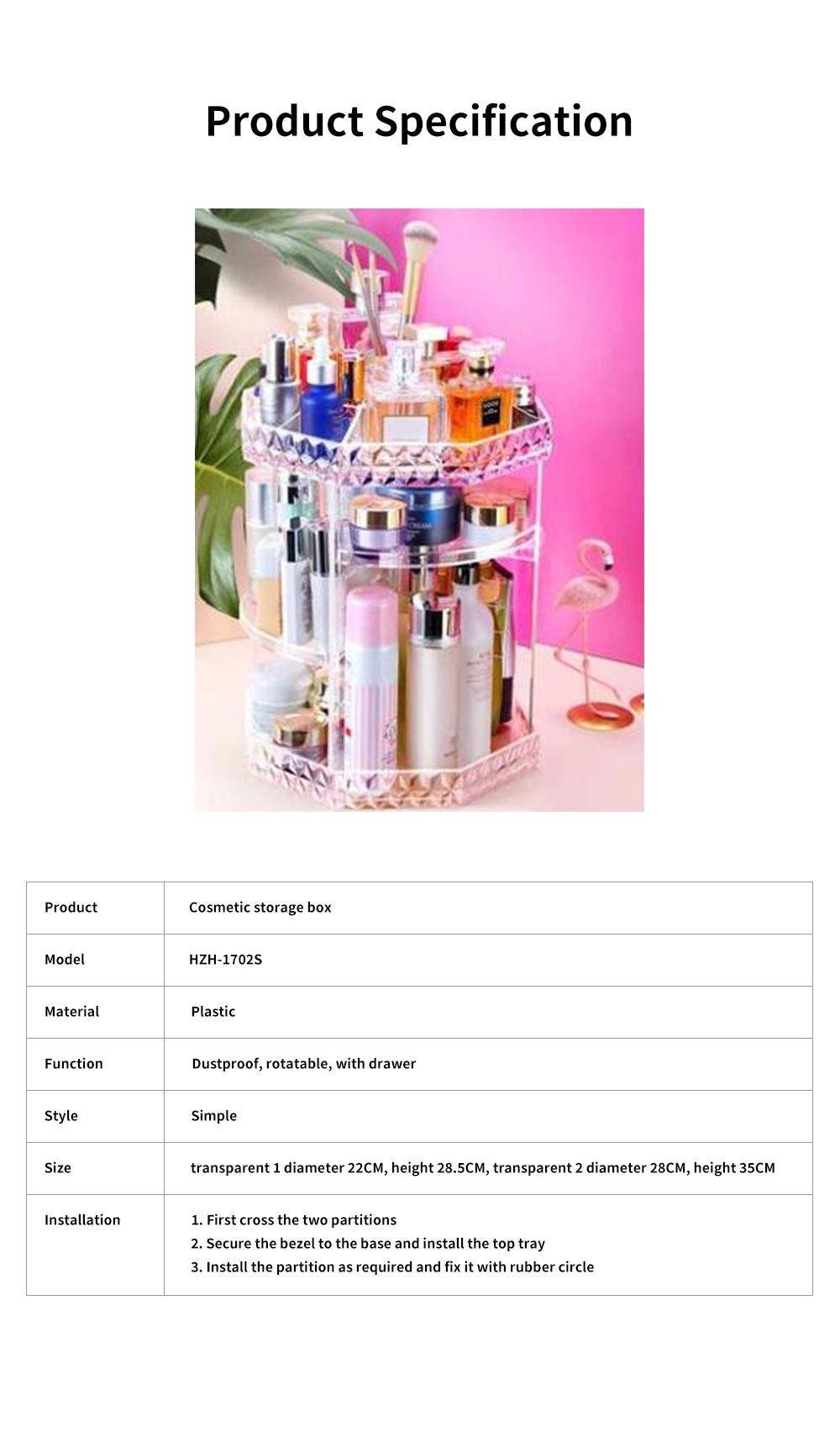 High Quality Plastic 360 Degree Rotating Makeup Organizer Cosmetic Storage Box Lipstick Desktop Shelf Dresser Storage Artifact Transparent 6