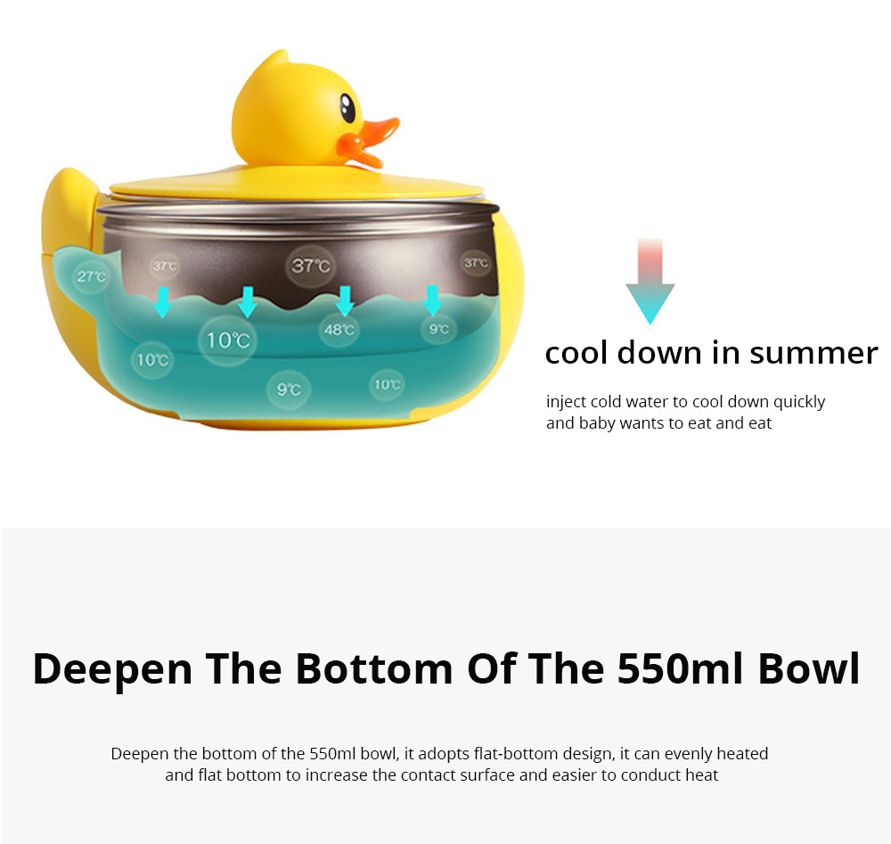 Small Yellow Duck Water Injection Bowl Children Tableware Baby Eating Bowl Stainless Steel Baby Spoon Set Complementary Food 7