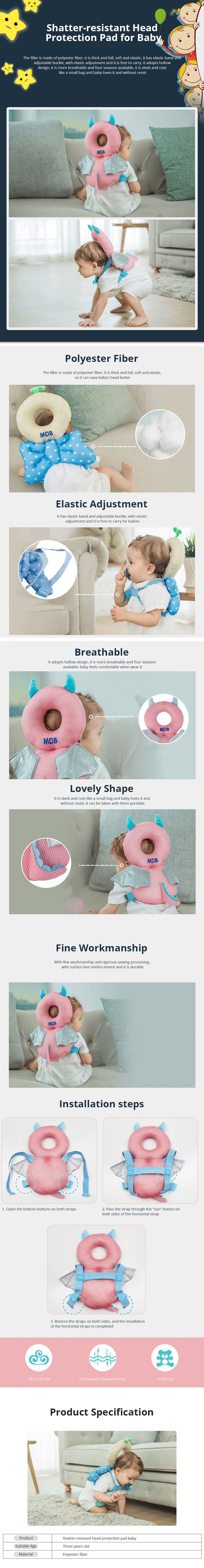 Baby Care Fall Safety Protection Pillow Head Protect Pad Toddler Learning Walking Helmet Anti-fall Back Pillows 0