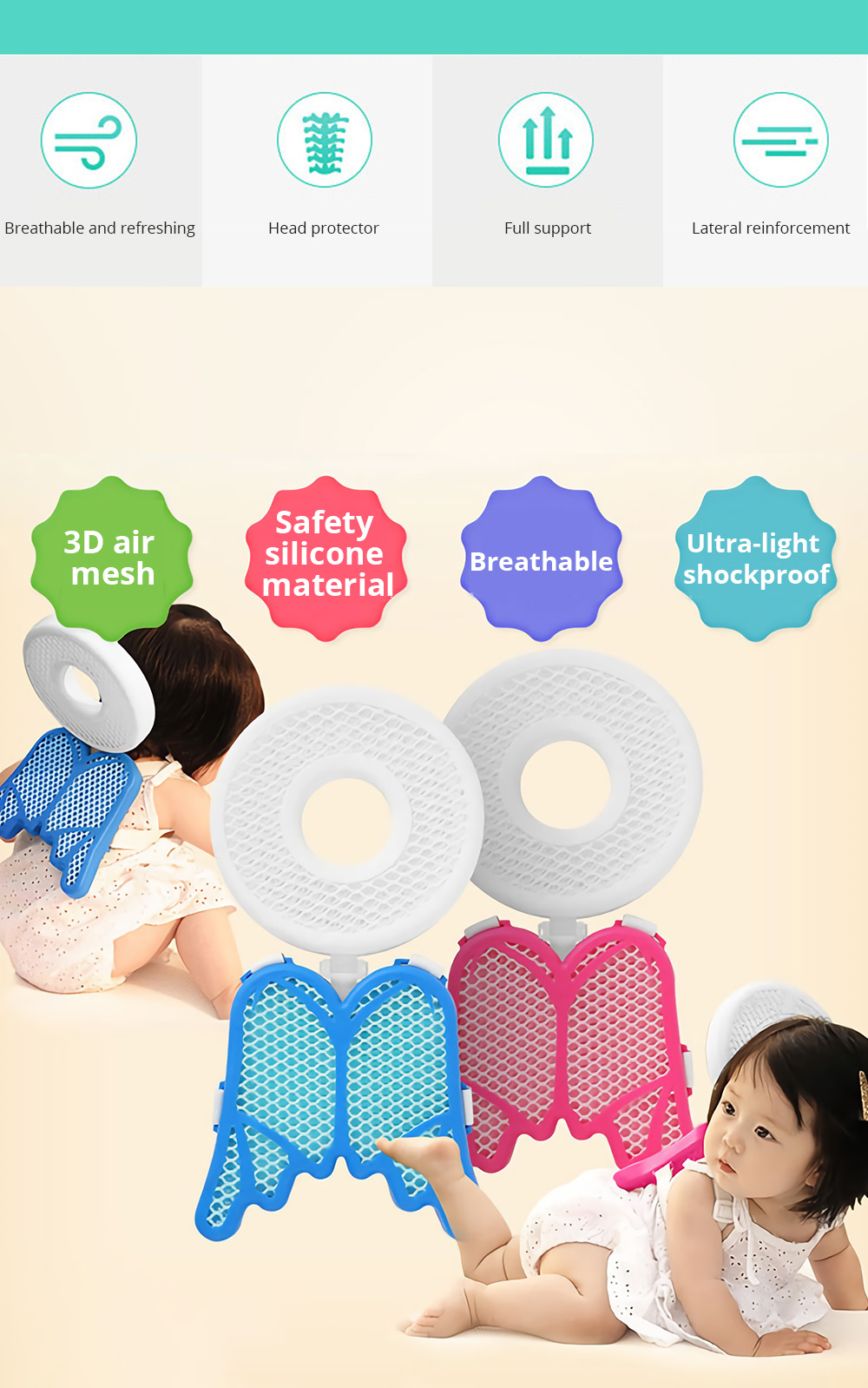 Baby Head Protection Pad Toddler Headrest Pillow Baby Neck Cute Wings Nursing Drop Resistance Cushion Bedding Backpack Mat 5