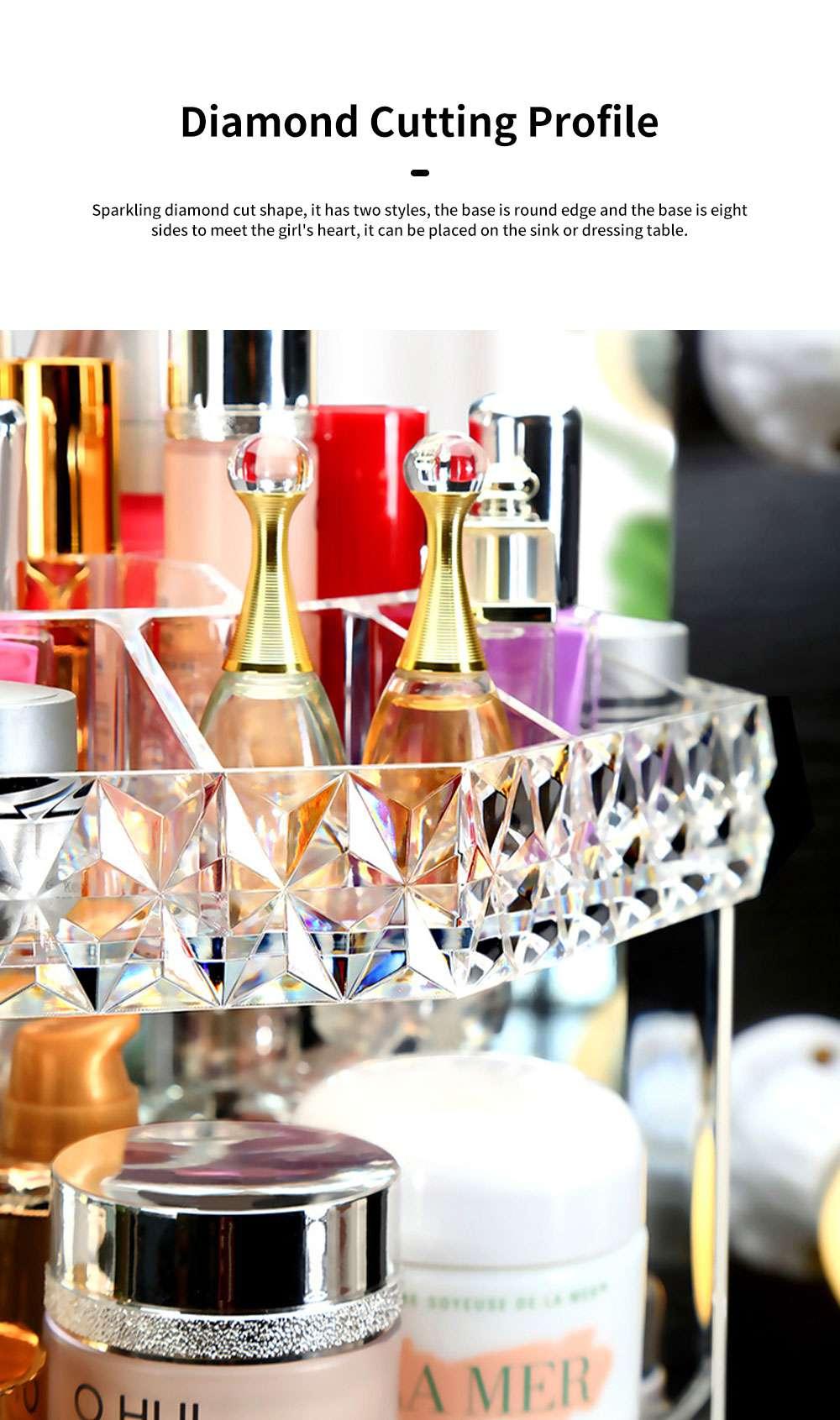 High Quality Plastic 360 Degree Rotating Makeup Organizer Cosmetic Storage Box Lipstick Desktop Shelf Dresser Storage Artifact Transparent 3