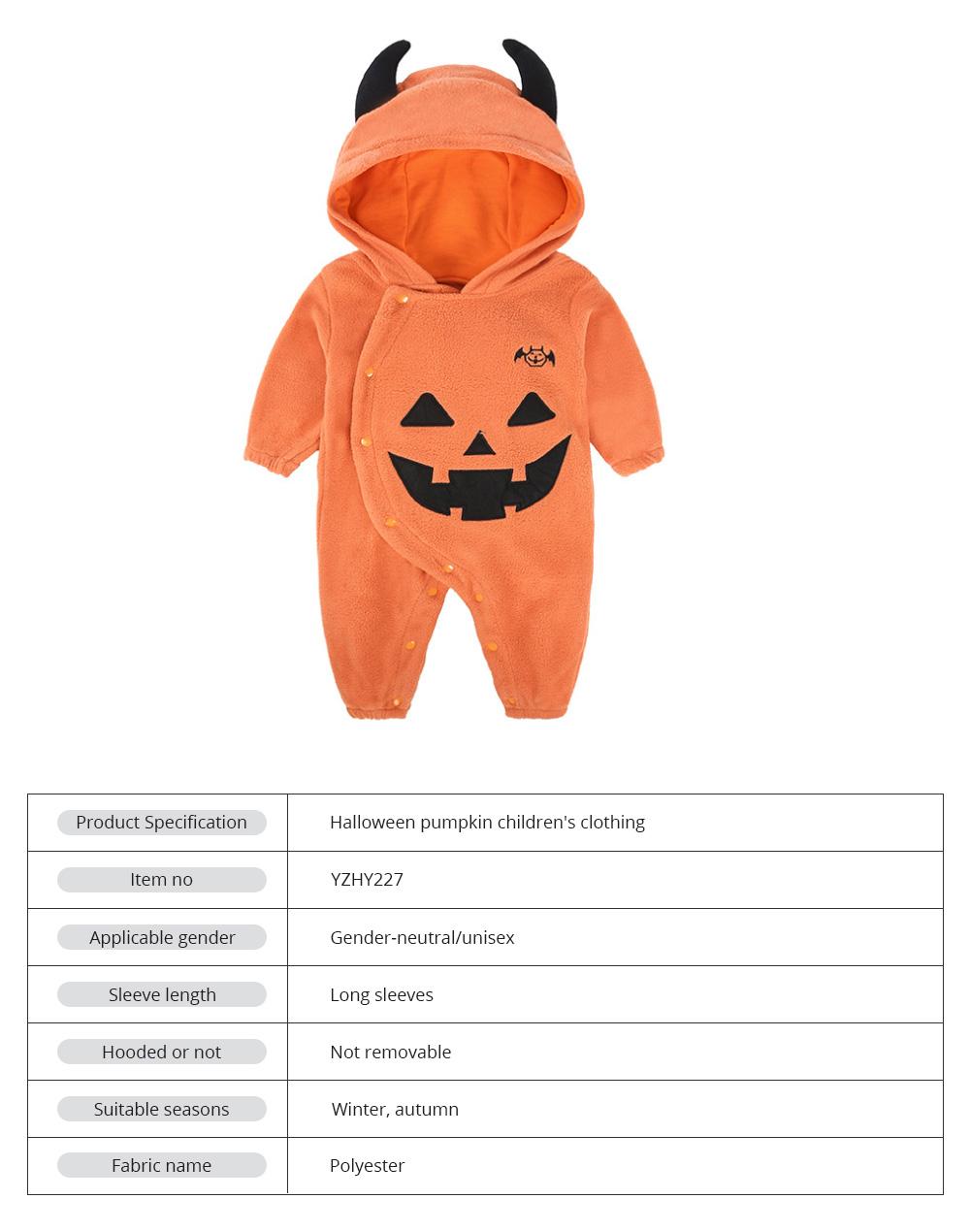 Universal Autumn Winter Halloween Pumpkin Baby Dress Hooded One-Piece Shirt Children's Clothing For Boys Girls 7