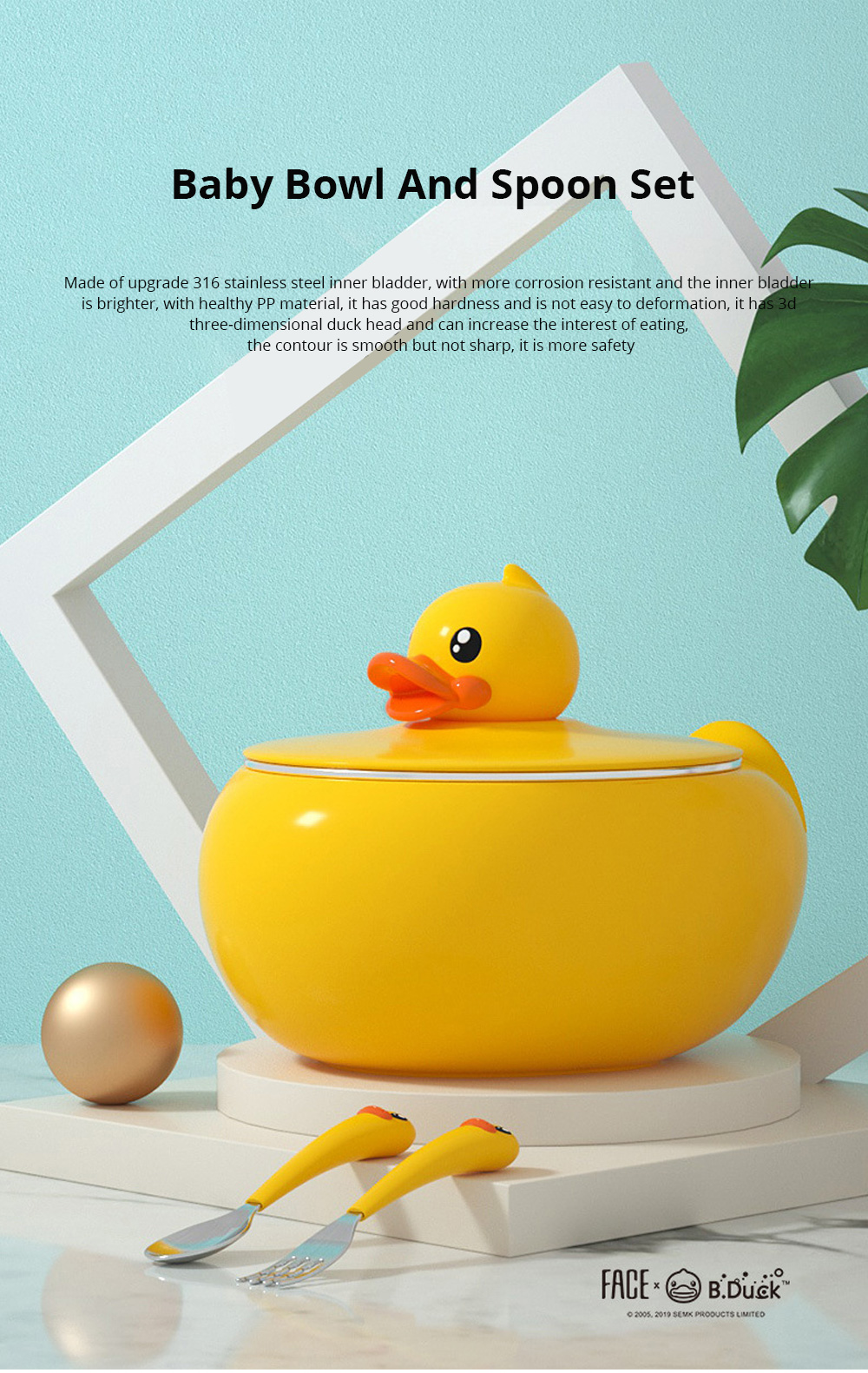 Small Yellow Duck Water Injection Bowl Children Tableware Baby Eating Bowl Stainless Steel Baby Spoon Set Complementary Food 0