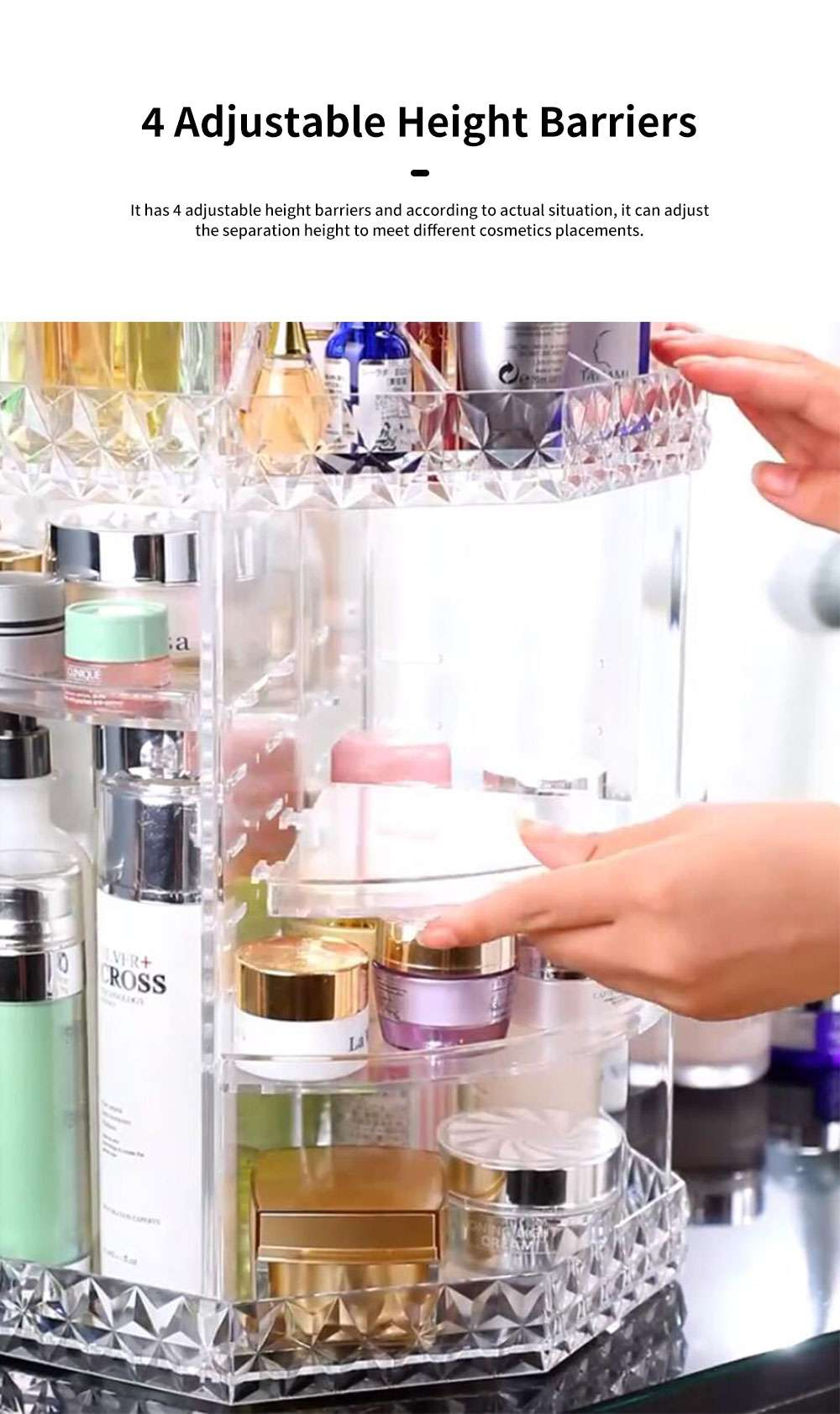 High Quality Plastic 360 Degree Rotating Makeup Organizer Cosmetic Storage Box Lipstick Desktop Shelf Dresser Storage Artifact Transparent 5