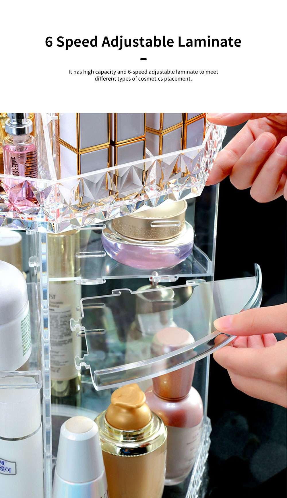 High Quality Plastic 360 Degree Rotating Makeup Organizer Cosmetic Storage Box Lipstick Desktop Shelf Dresser Storage Artifact Transparent 2