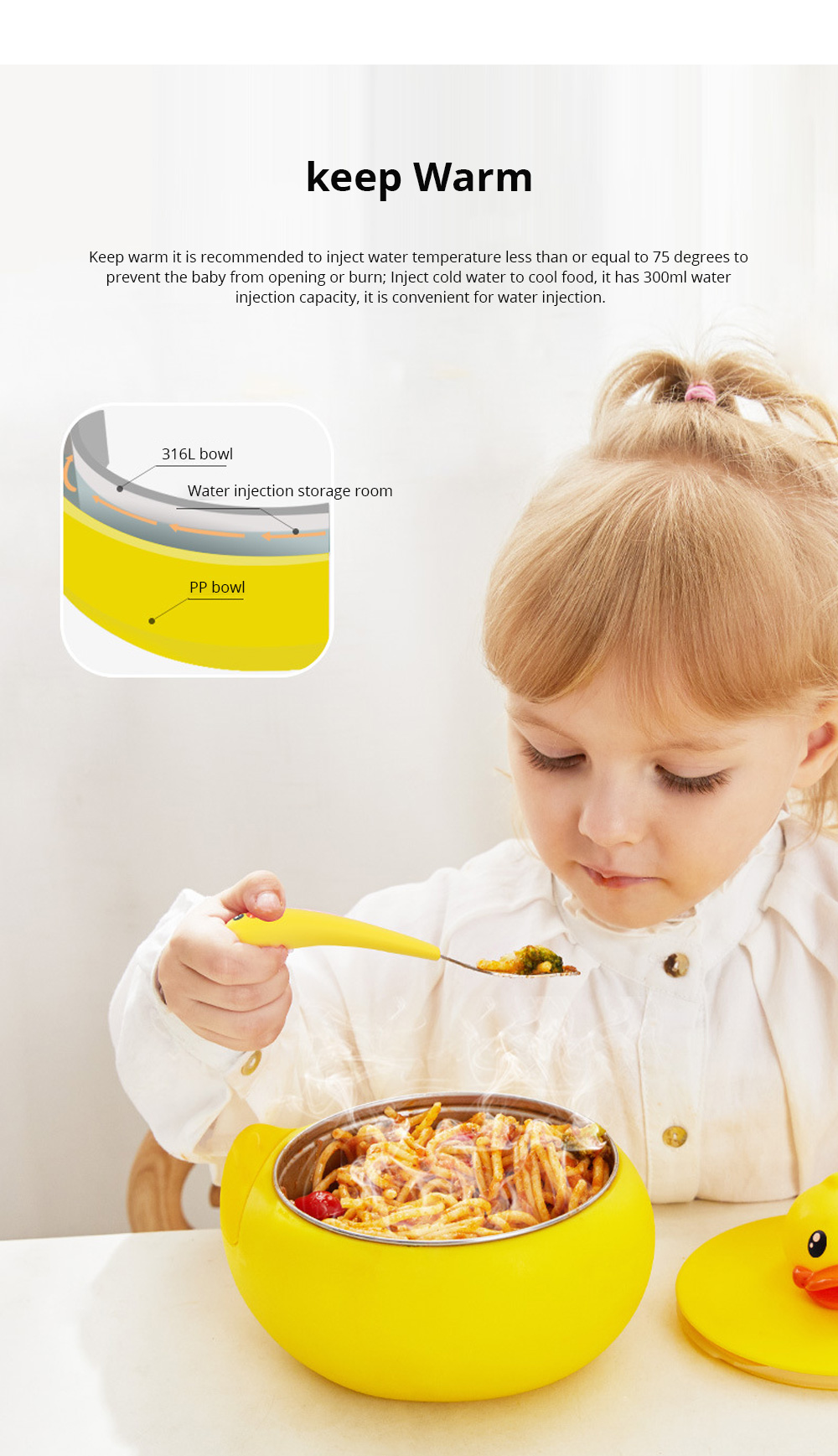 Small Yellow Duck Water Injection Bowl Children Tableware Baby Eating Bowl Stainless Steel Baby Spoon Set Complementary Food 5