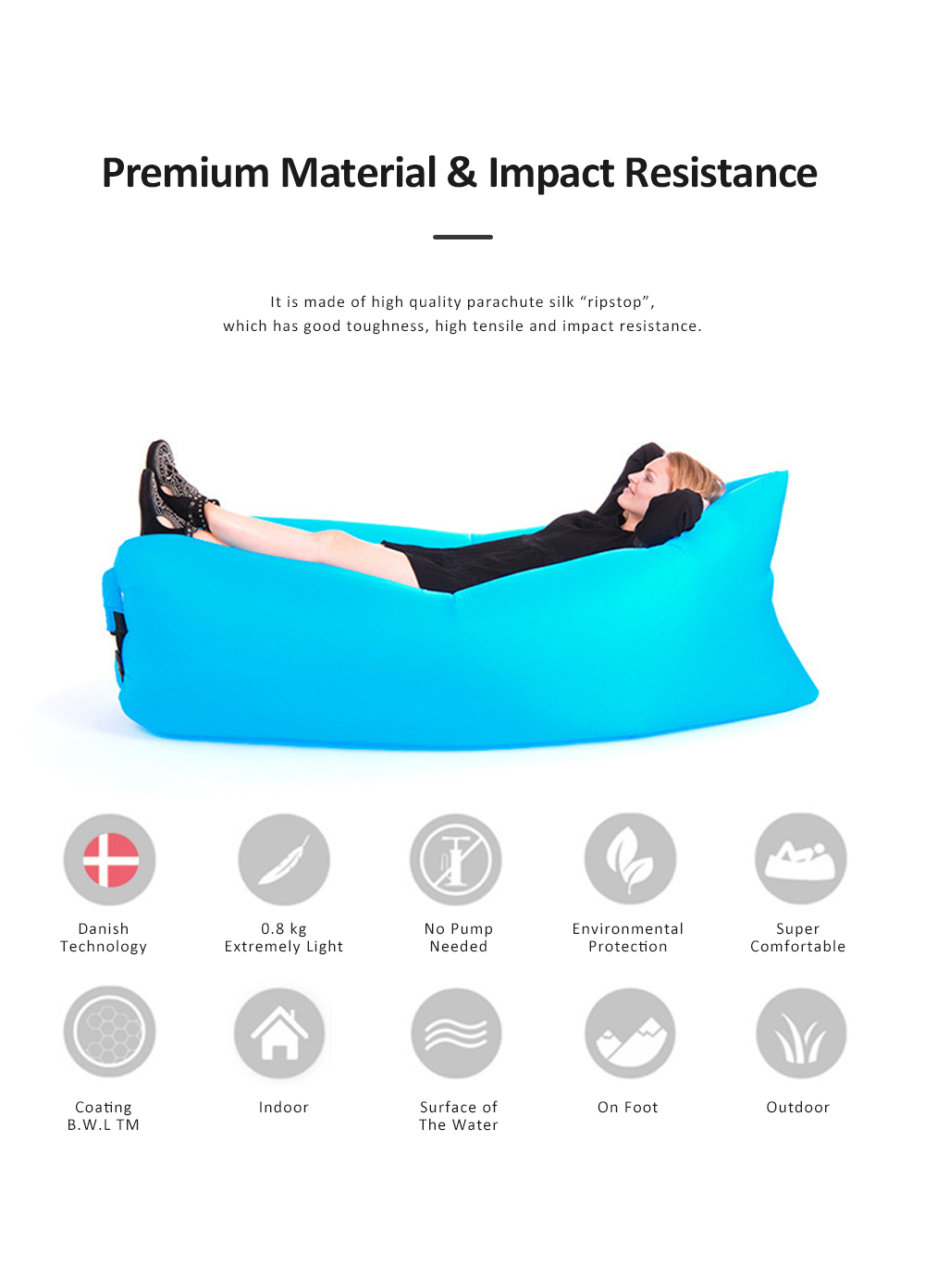 Inflatable Air Sofa Nylon Anti-Air Leaking Couch Convenient Sleeping Sofa Bag with Pocket for Outdoor Camping Travel Beach 1