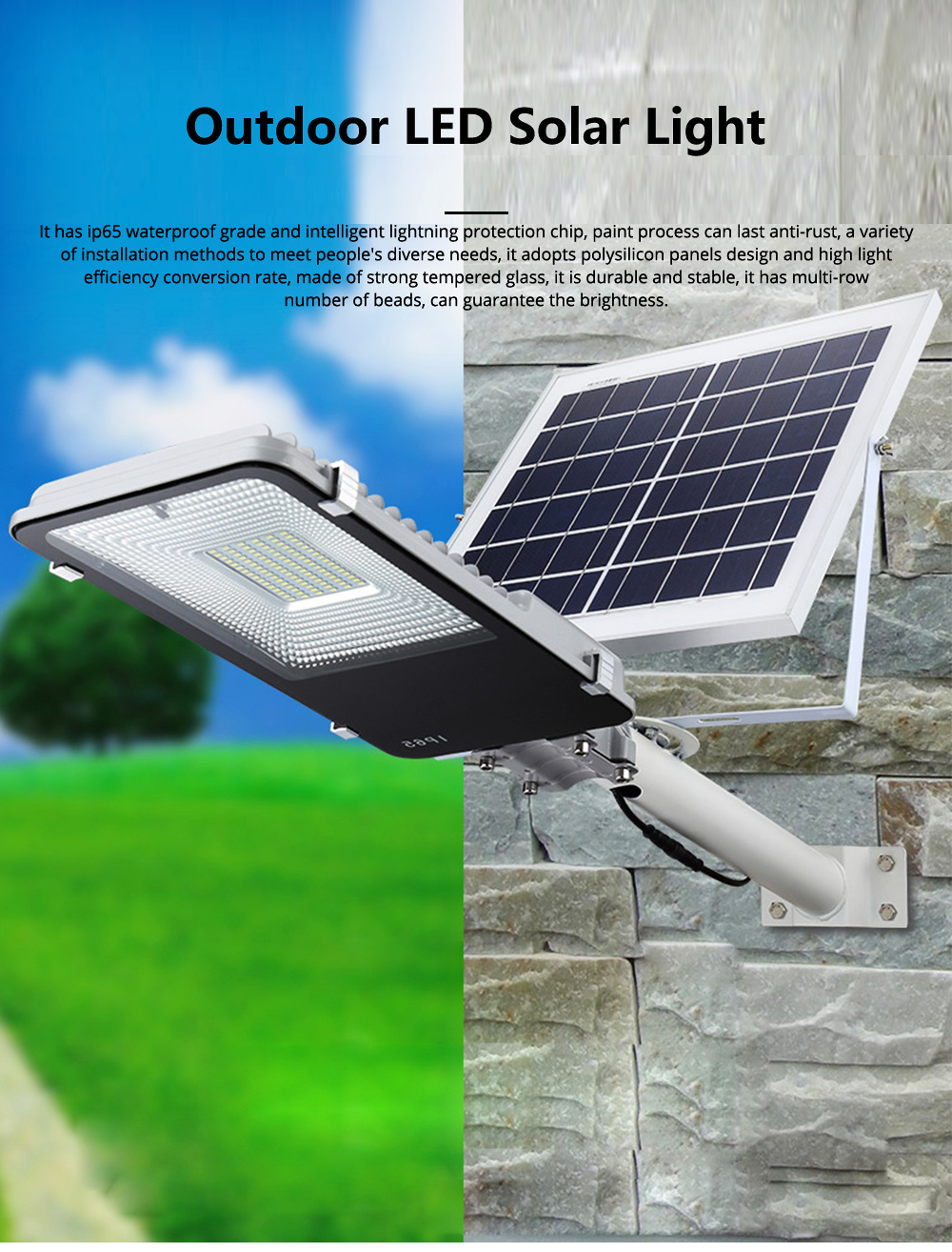 Outdoor LED Solar Light Toothbrush Street Light Solar Power Street Light Outdoor Lighting Garden 20W 30W 50W 0