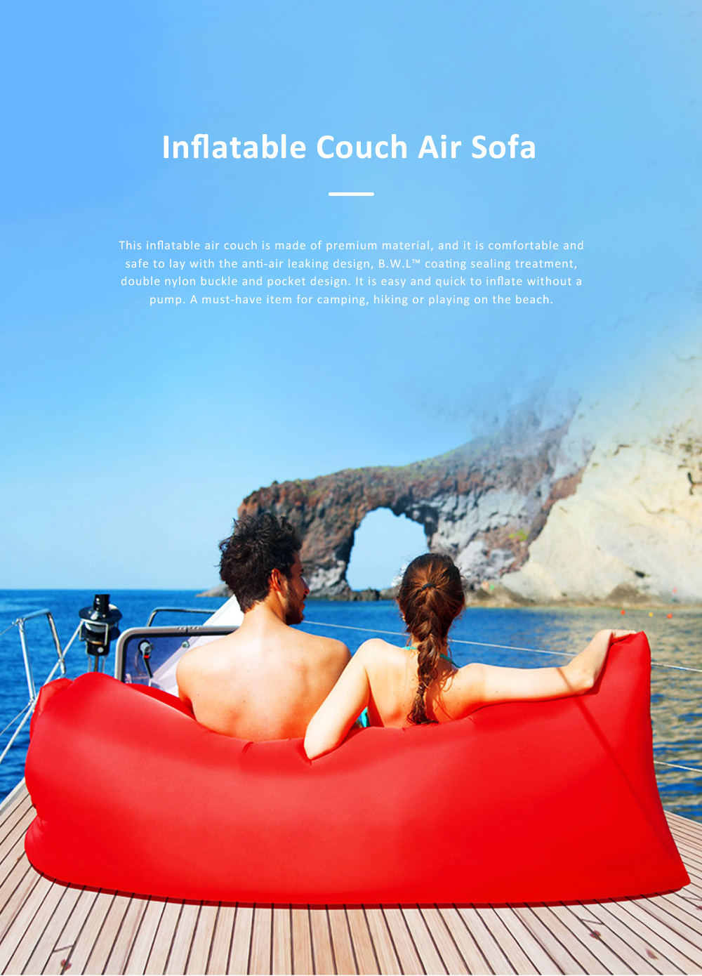 Inflatable Air Sofa Nylon Anti-Air Leaking Couch Convenient Sleeping Sofa Bag with Pocket for Outdoor Camping Travel Beach 0