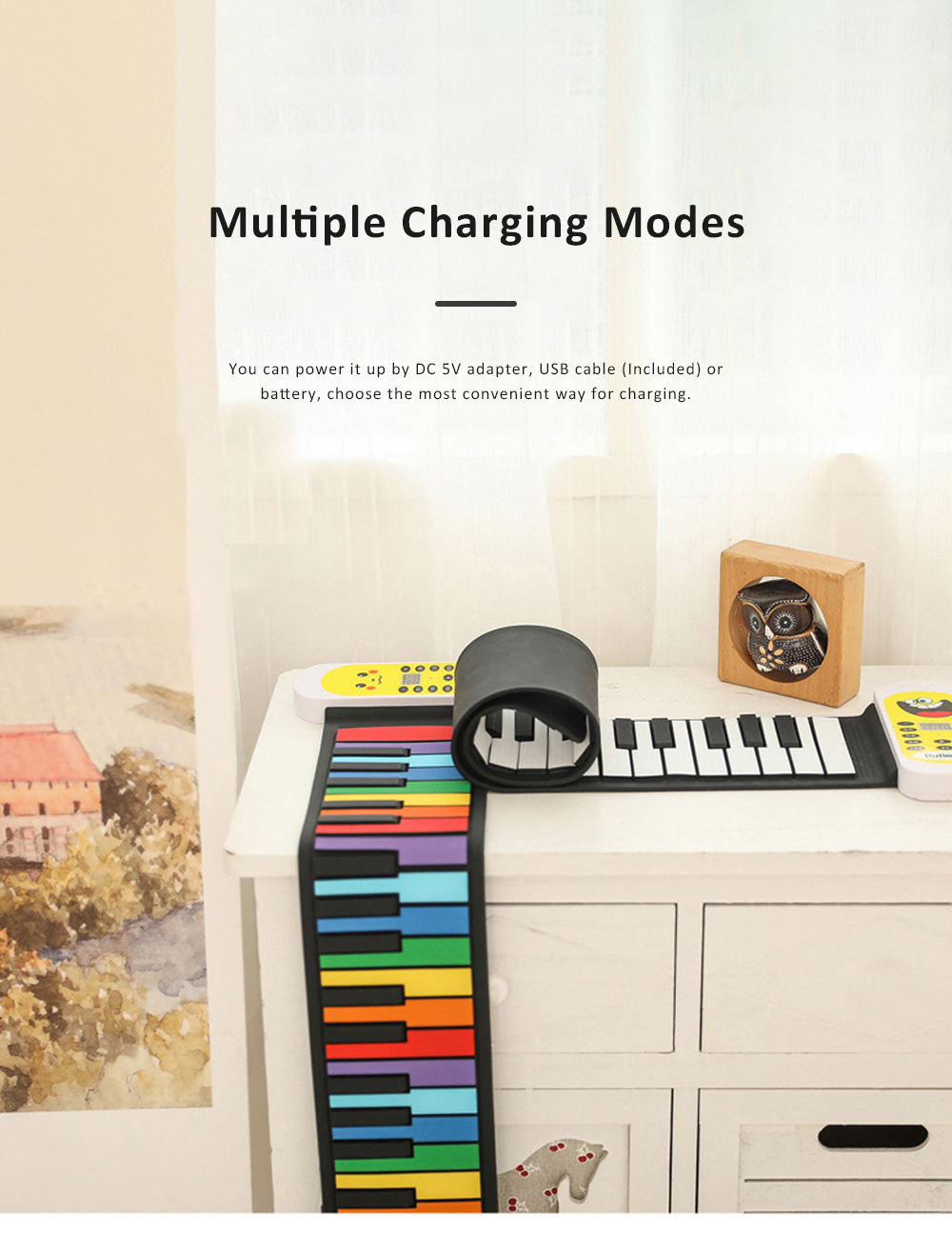 Electronic Roll Up Piano with Silicone Keyboard 8 Kinds of Sound and Multiple Charging Modes for Children Beginner Gift 3