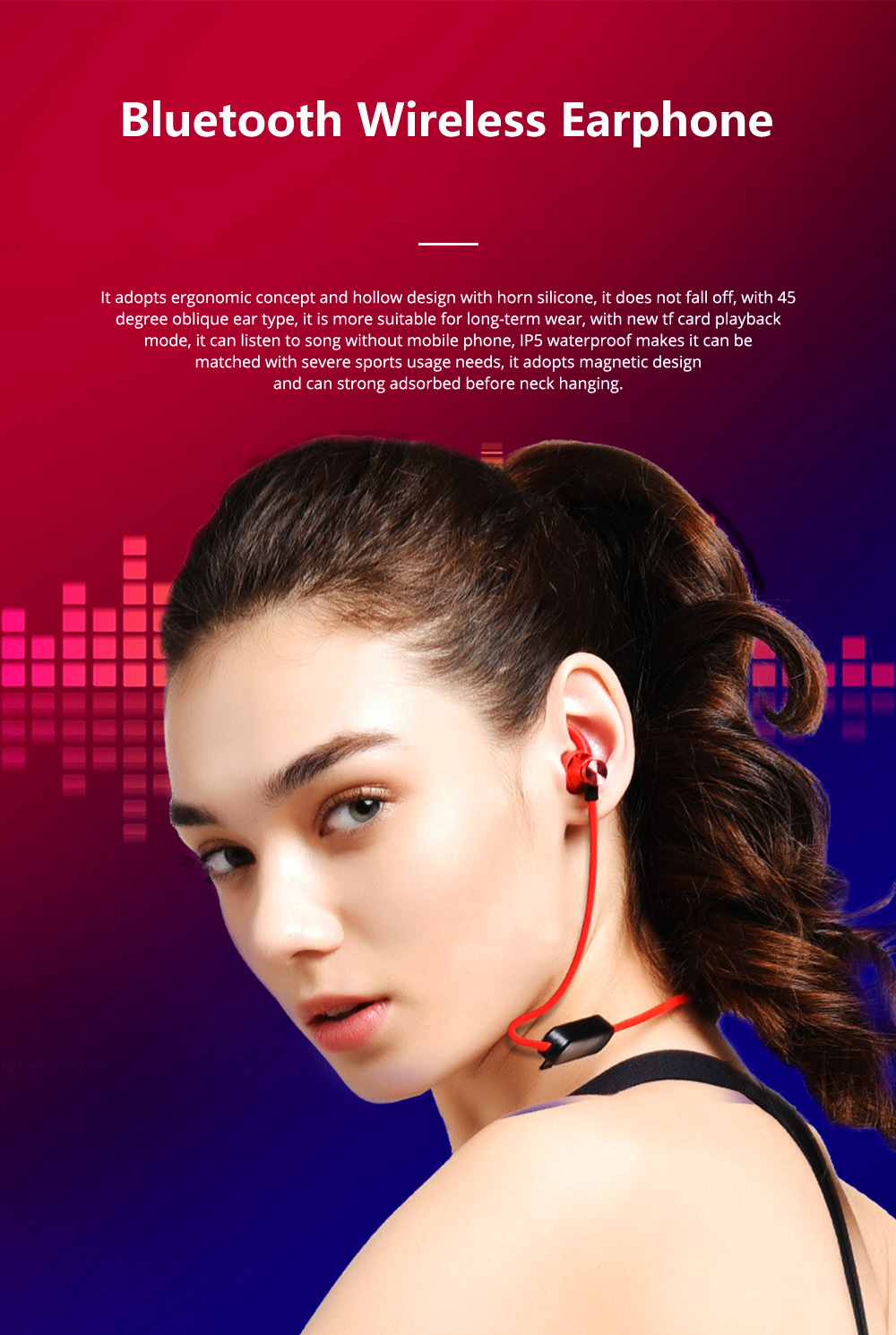 Waterproof Sport Bluetooth Earphone Magnetic Support TF Card XT-22 Wireless Sports Bass With Mic 0