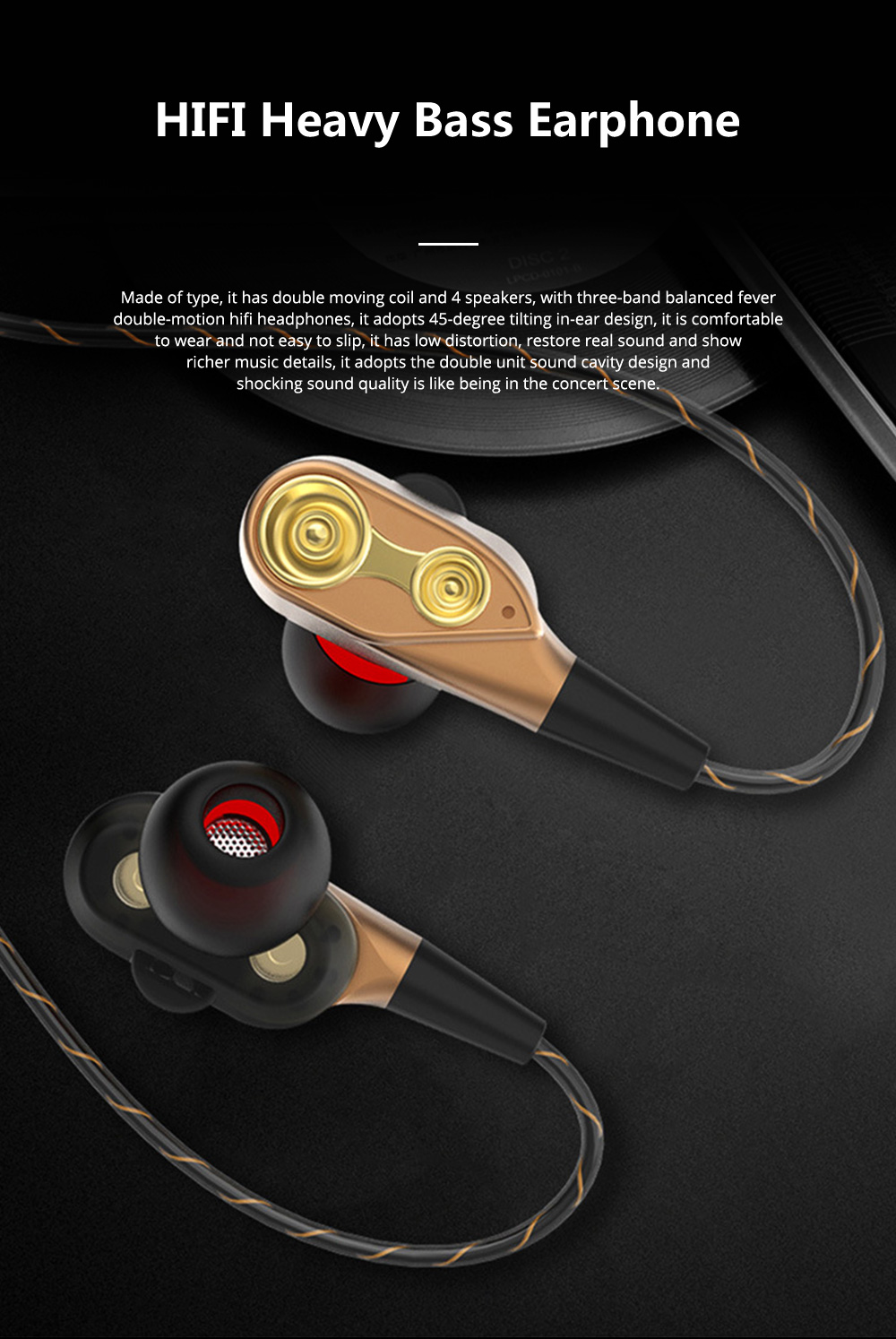 HIFI Heavy Bass Metal Sports Headsets Wired Mobile Phone In Ear Earphone Type C HD Voice Headphones For Cell Phone MP3 Player 0