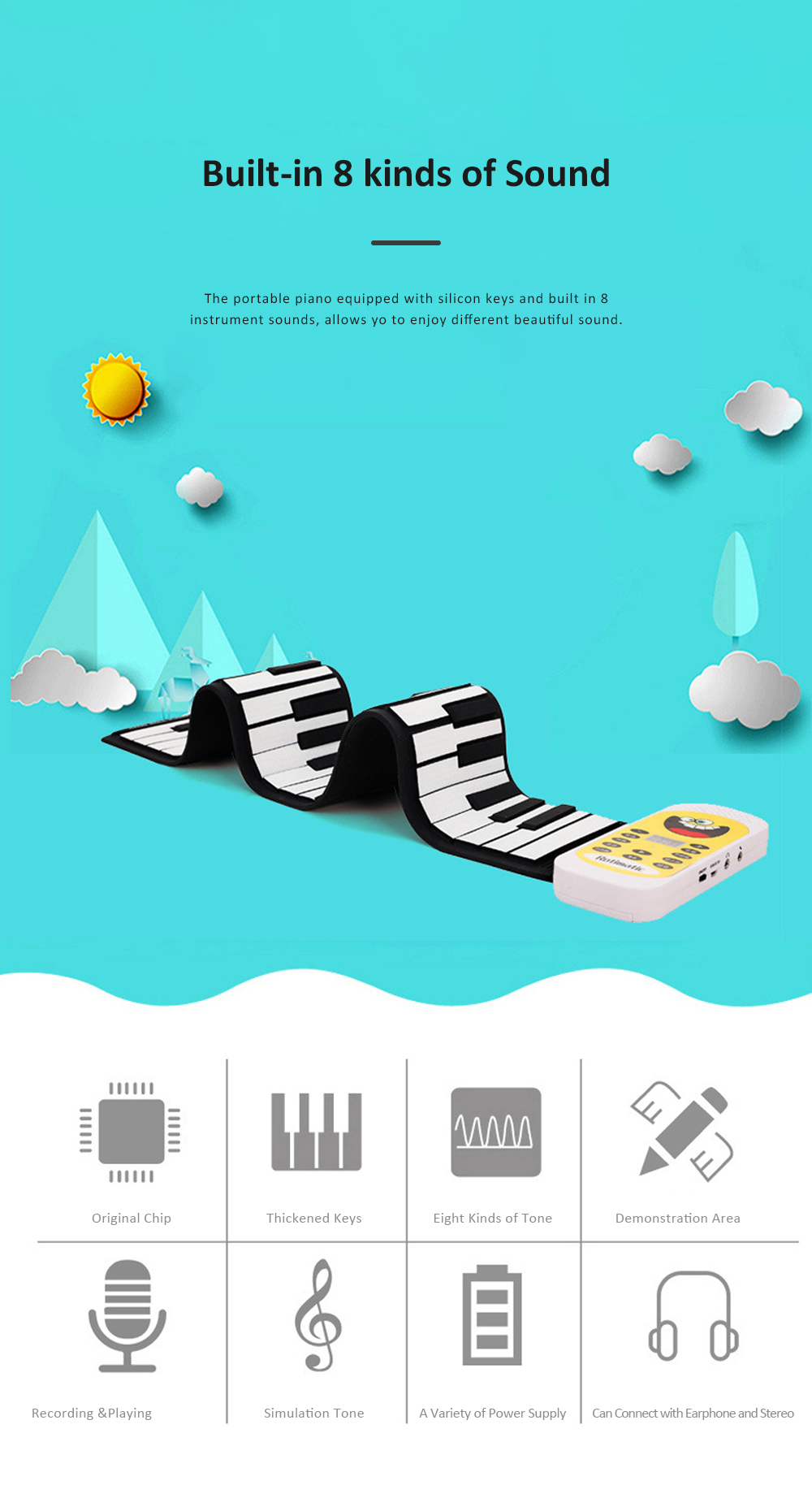 Electronic Roll Up Piano with Silicone Keyboard 8 Kinds of Sound and Multiple Charging Modes for Children Beginner Gift 2