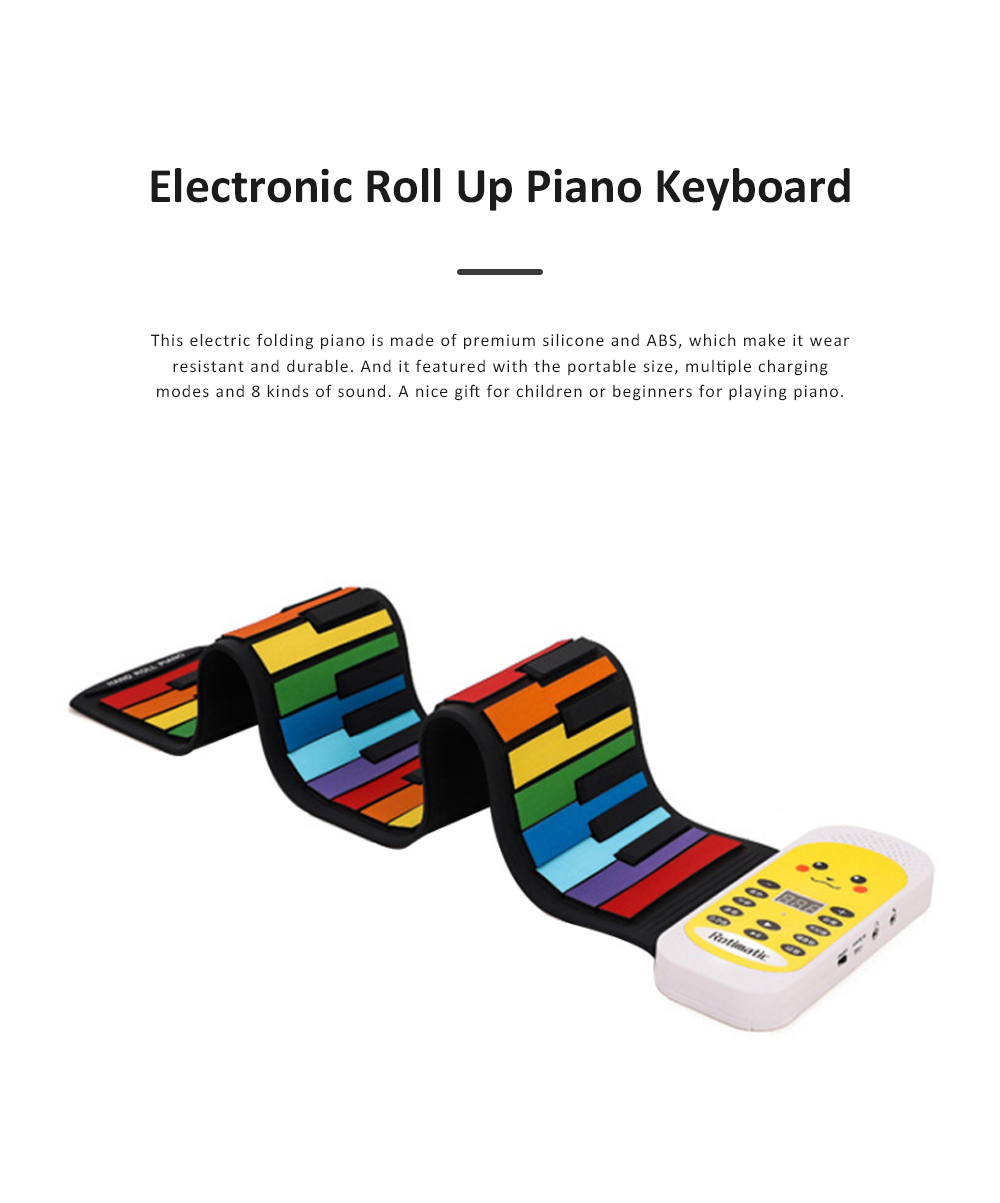 Electronic Roll Up Piano with Silicone Keyboard 8 Kinds of Sound and Multiple Charging Modes for Children Beginner Gift 1