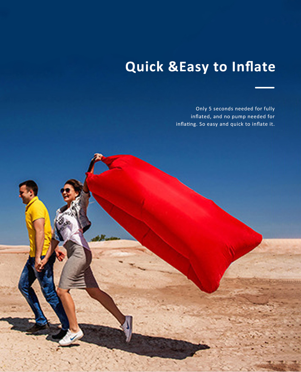 Inflatable Air Sofa Nylon Anti-Air Leaking Couch Convenient Sleeping Sofa Bag with Pocket for Outdoor Camping Travel Beach 4