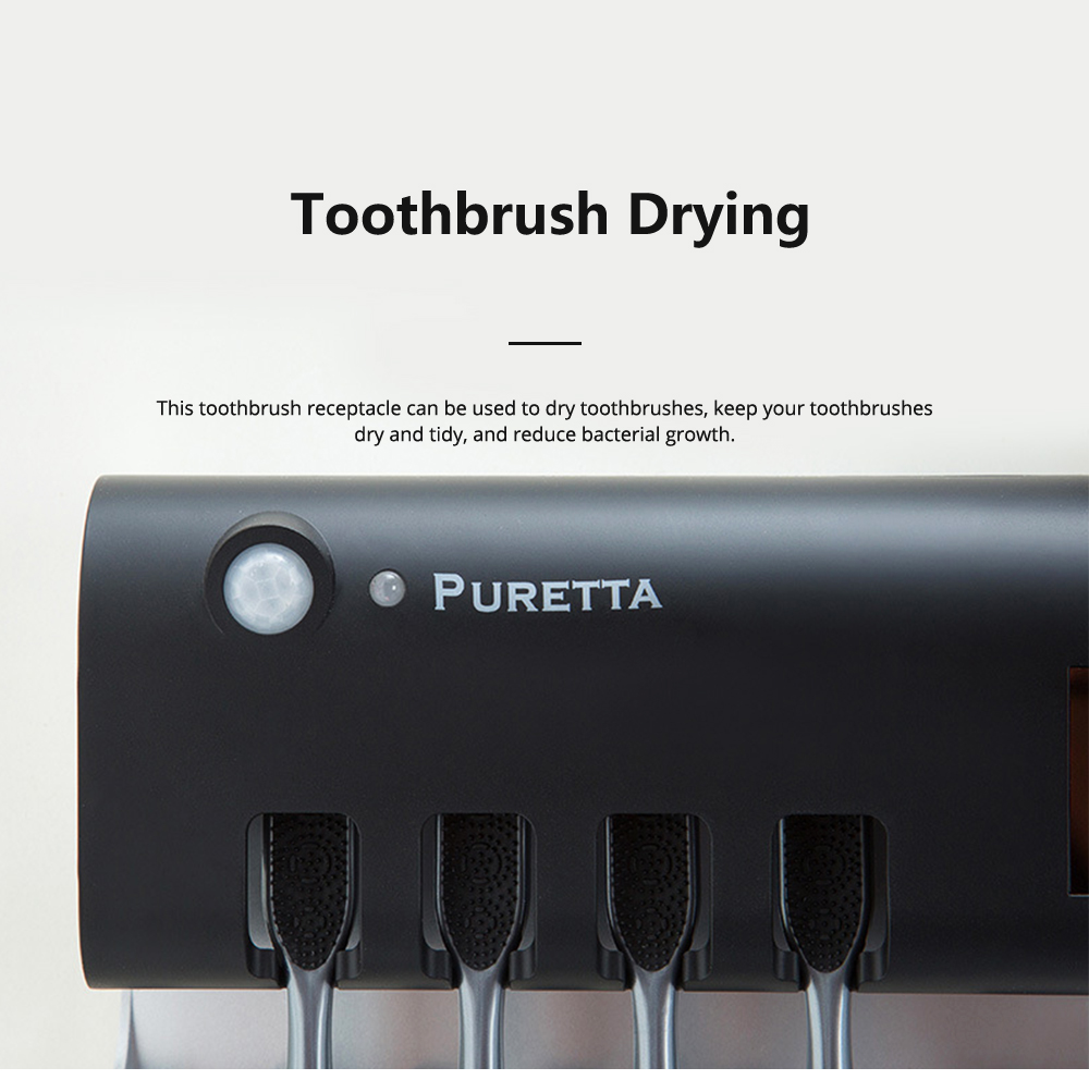 PURETTA Multifunctional Toothbrush Sterilizer Solar-powered Household Toothbrush Sterilizer Drying Boxes Toothpaste Appliances 5