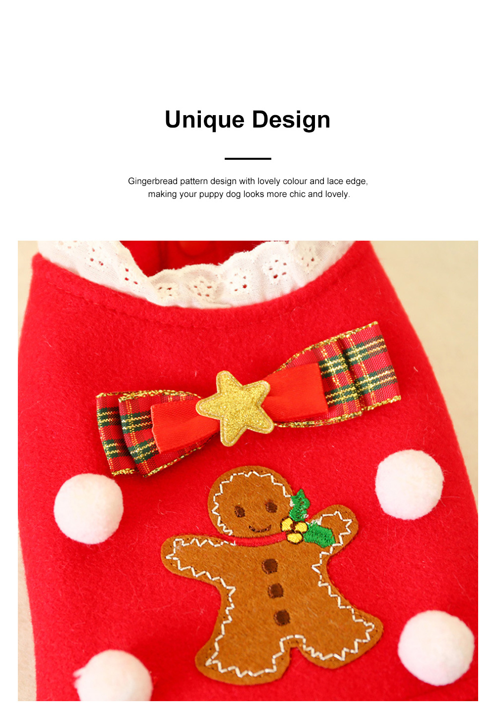 Gingerbread Pattern Red Pet Dress Christmas Decorations Puppy Dog Dress Teddy Bichon Clothing 3