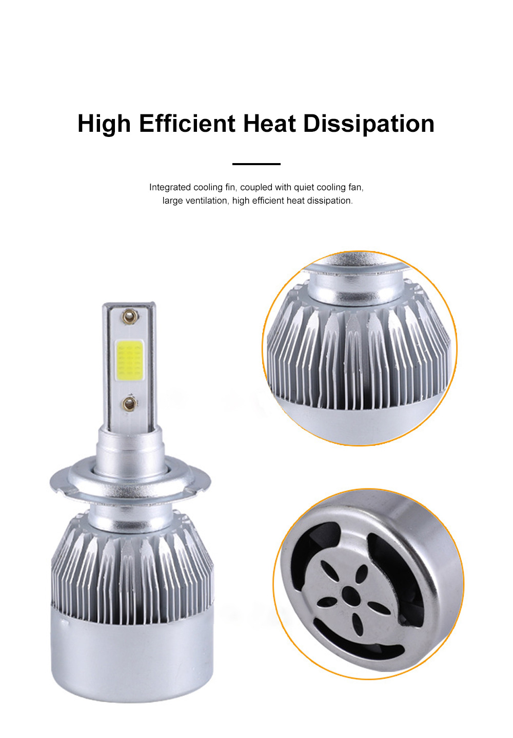 H1 H3 H4 H7 H11 360°Rotatable Car Front Light Brightness LED Interior with Cooling Fin and Quiet Cooling Fan Fit for All Types Vehicles 4
