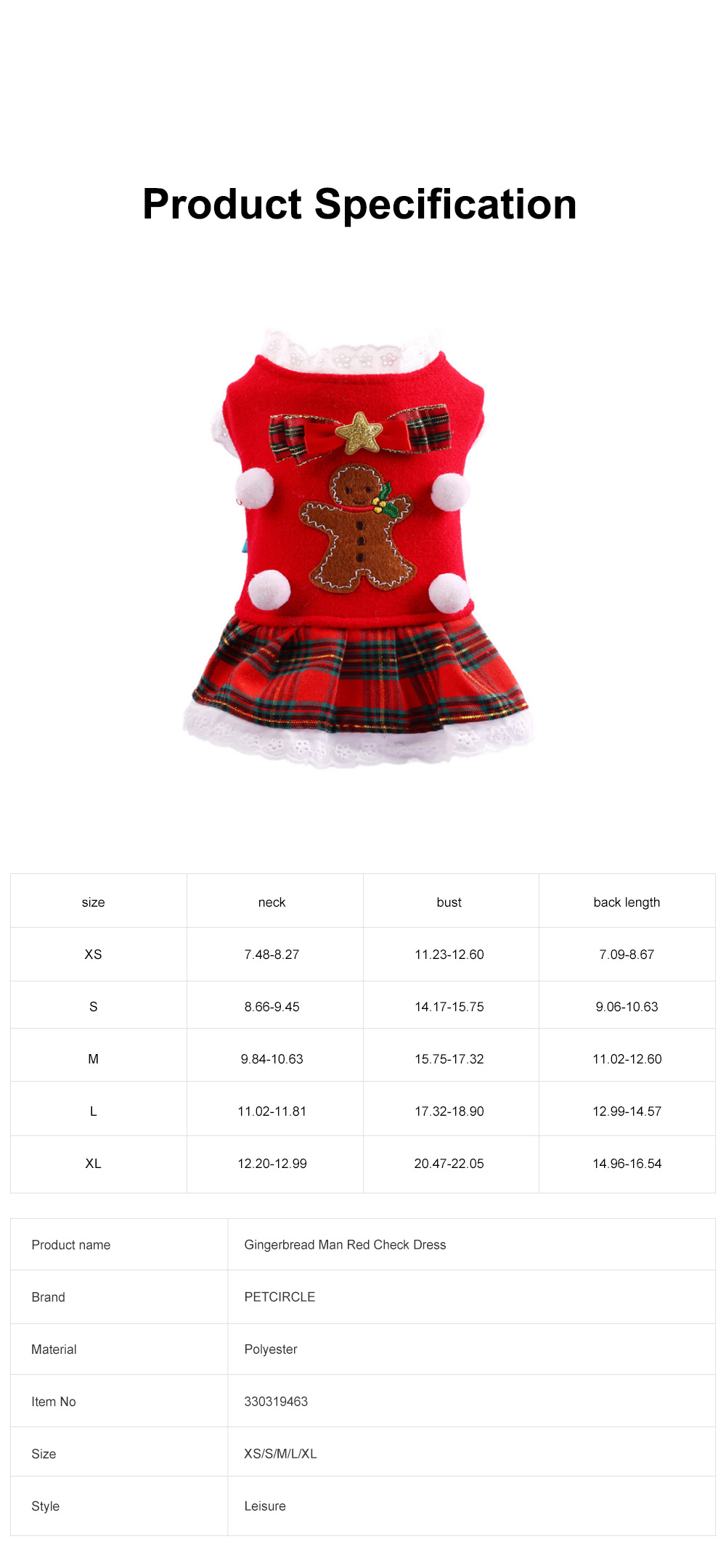 Gingerbread Pattern Red Pet Dress Christmas Decorations Puppy Dog Dress Teddy Bichon Clothing 5