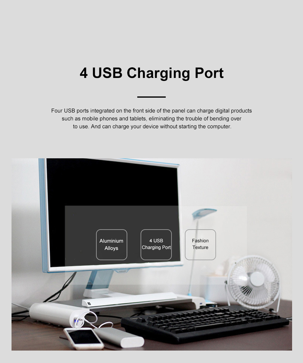 Silver Laptop Stand Holder Metal Monitor Base Stand with 4 USB Charging Port for Computer Tablet iPad Laptop 2
