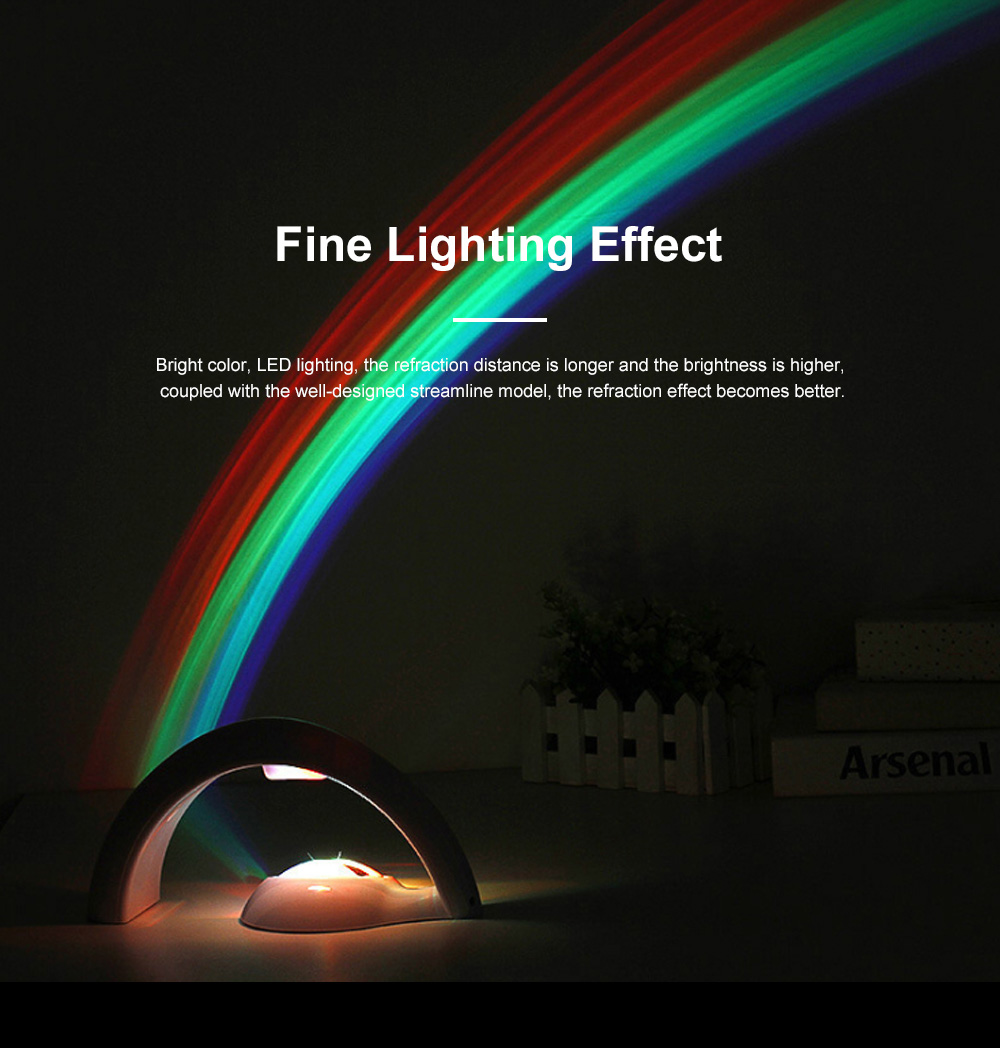 Romantic Night Light Lucky Rainbow Projector Lamp 10 Minutes Auto Shut Down Light for Home Decor or Gift for Children 4