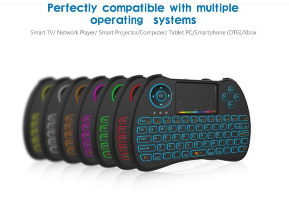 Colorful Backlit Keyboard with Touchpad for Desktop Computer Tablet X-BOX Wireless Mini Keyboard Touch Control Multimedia HTPC Keyboard 8