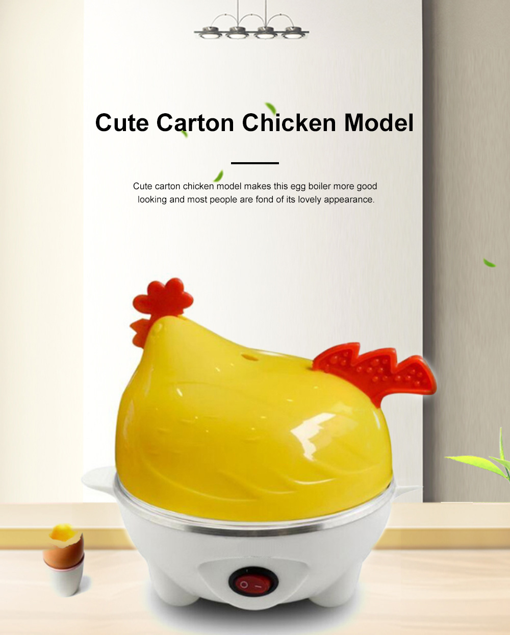 Cute Creative Carton Chicken Model Automatic Egg Boiler Multifunctional Egg Cooker Breakfast Assistant 2