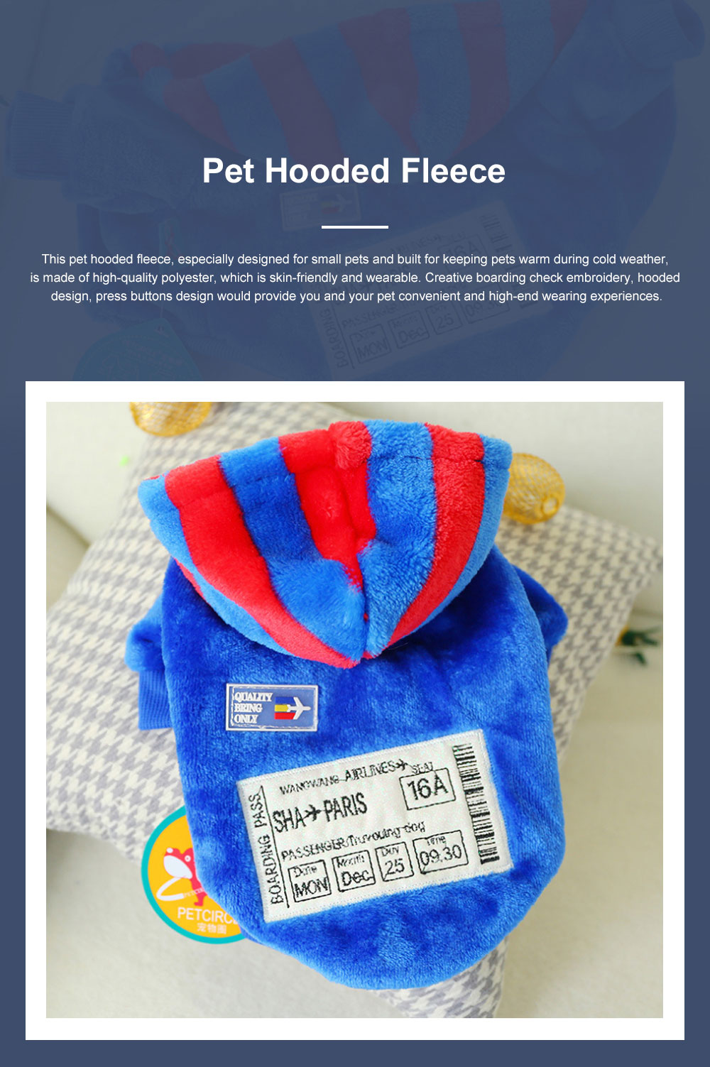 Creative Boarding Check Warm Pet Hoodie Embroidery Decorative Winter Autumn Puppy Little Dog Cat Pet Cloth Hooded Fleece 0