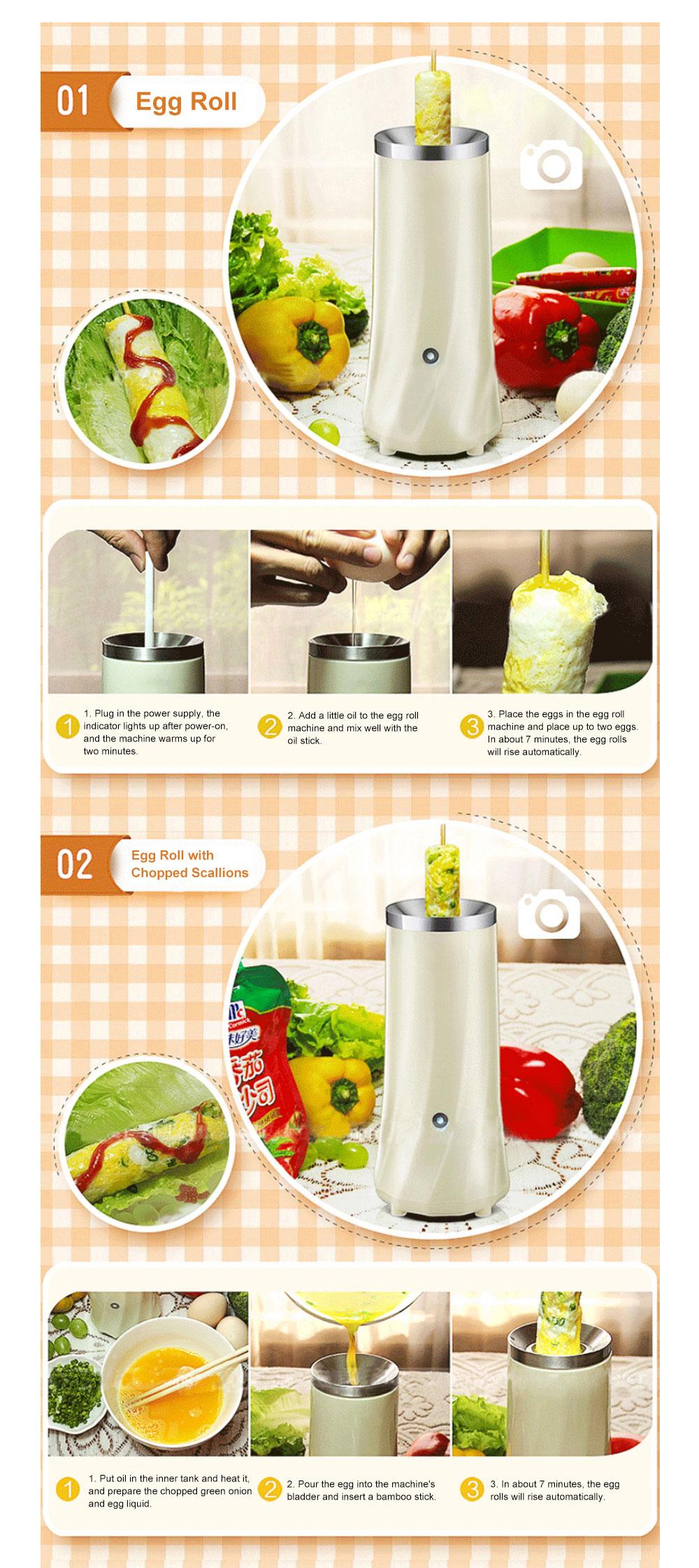 Portable Multifunctional Egg Roll Maker Household Automatic Breakfast Egg Fryer Stainless Steel Maker Easy-Operation Single Tube Omelet Electric Machine 7