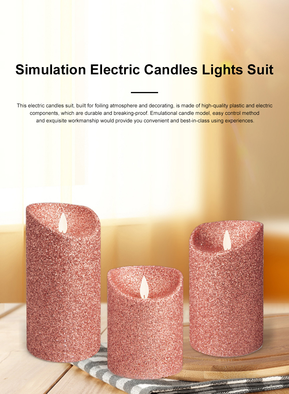 3PCS Led Candle Light Suit Rose Golden Simulation Flame Smokeless Electric Candle Lights with Remote Control Adjustable Automatic Timer 0