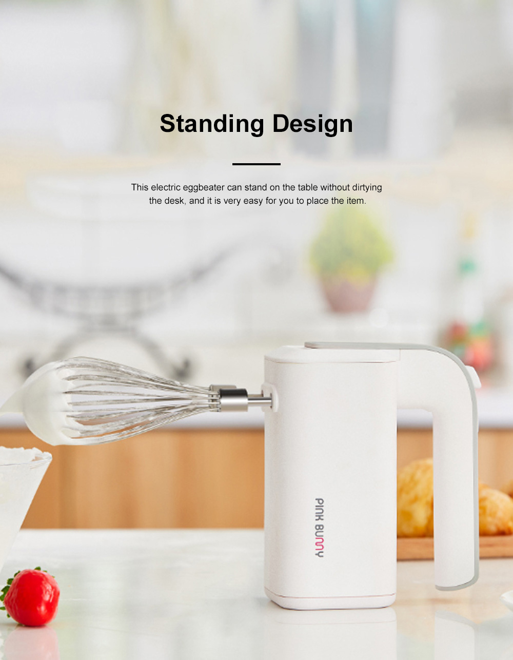 Handy Household Standing Electric Eggbeater Large Capacity Battery Powerful Baking Beater Rechargeable Small Egg Beater Baking Mixer Tool 1