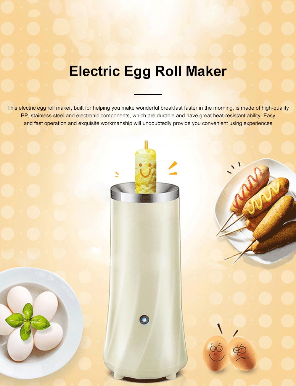 Portable Multifunctional Egg Roll Maker Household Automatic Breakfast Egg Fryer Stainless Steel Maker Easy-Operation Single Tube Omelet Electric Machine 0