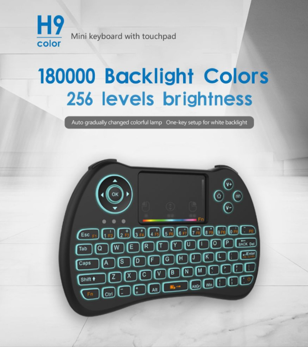 Colorful Backlit Keyboard with Touchpad for Desktop Computer Tablet X-BOX Wireless Mini Keyboard Touch Control Multimedia HTPC Keyboard 0