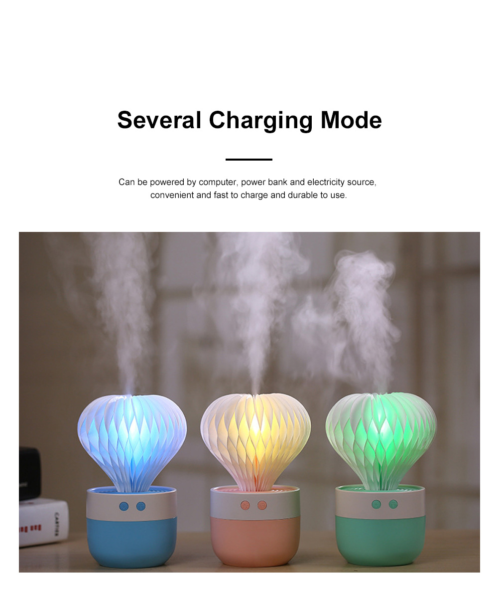 Portable Paper Cactus Humidifier USB Charging Air Diffuser 7 Colors LED Night Light for Home Office Car Travel 4