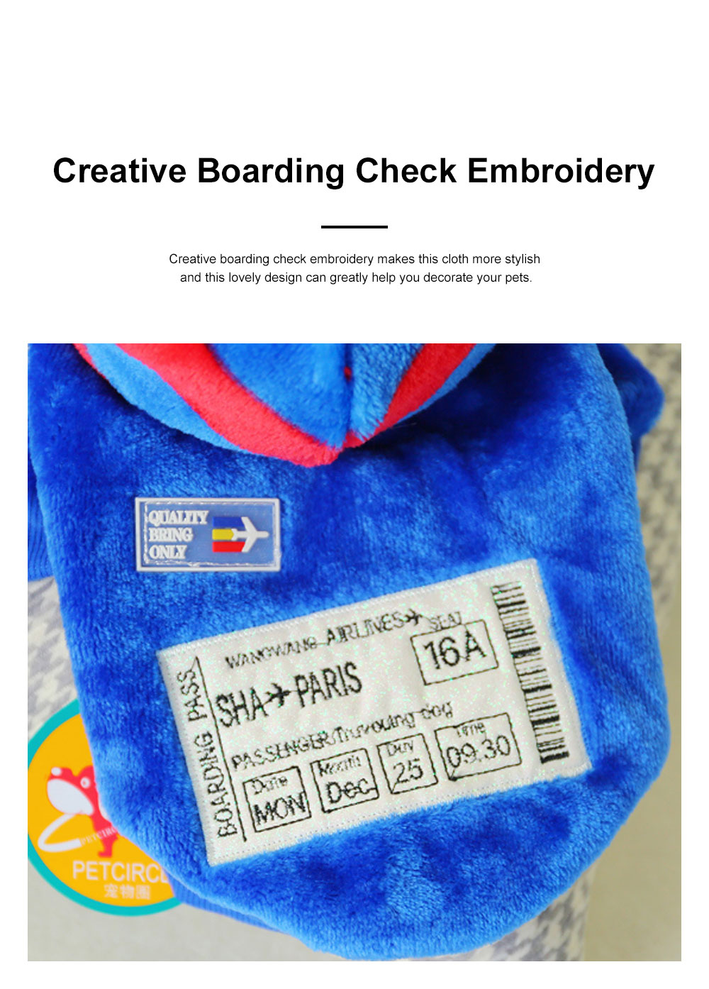 Creative Boarding Check Warm Pet Hoodie Embroidery Decorative Winter Autumn Puppy Little Dog Cat Pet Cloth Hooded Fleece 3