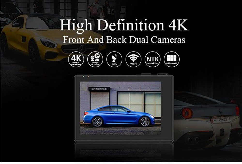 3.0 Inch Touch Screen Driving Recorder Dual Lens Double 1080P GPS Wifi Super Cap Dash Cam Recorder Car DVR Video 0