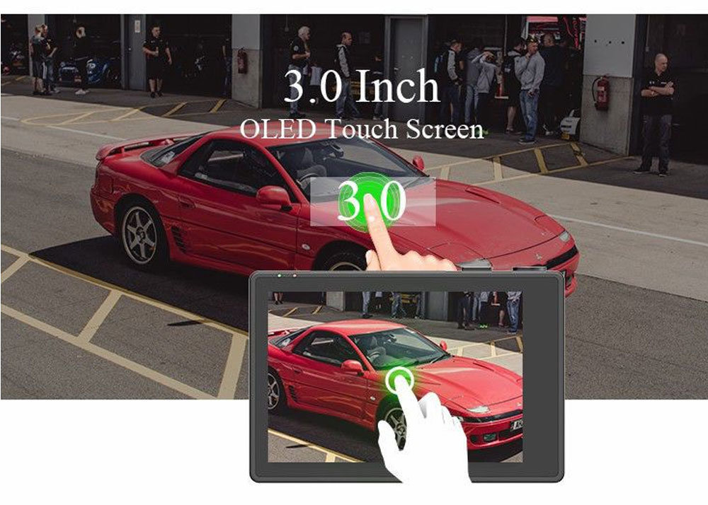 3.0 Inch Touch Screen Driving Recorder Dual Lens Double 1080P GPS Wifi Super Cap Dash Cam Recorder Car DVR Video 2