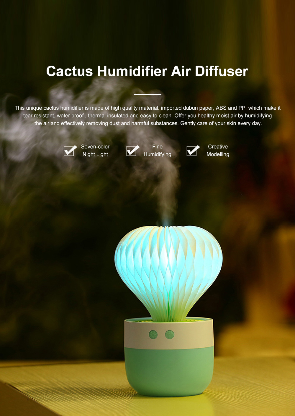 Portable Paper Cactus Humidifier USB Charging Air Diffuser 7 Colors LED Night Light for Home Office Car Travel 0