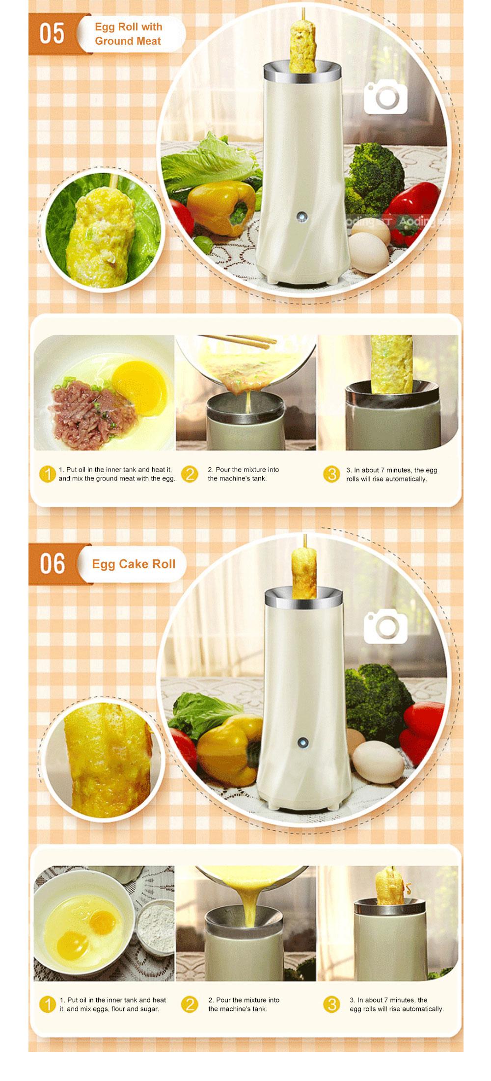 Portable Multifunctional Egg Roll Maker Household Automatic Breakfast Egg Fryer Stainless Steel Maker Easy-Operation Single Tube Omelet Electric Machine 9